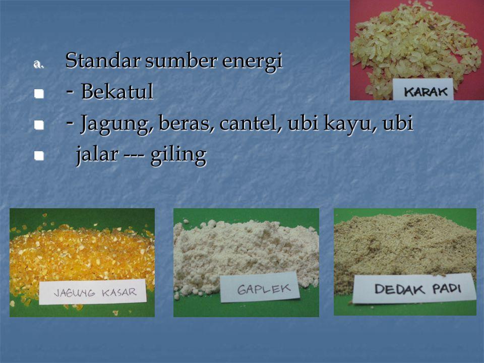 Standar sumber energi - Bekatul - Jagung, beras, cantel, ubi kayu, ubi jalar --- giling