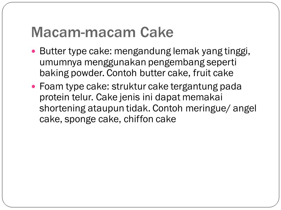 Macam-macam Cake