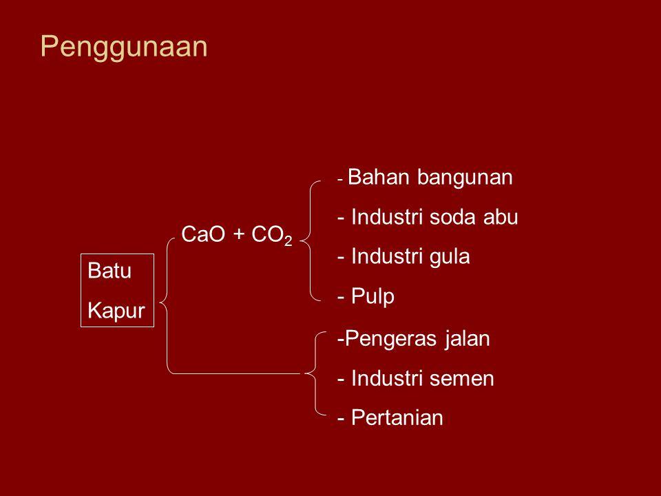 Penggunaan Industri soda abu Industri gula Pulp CaO + CO2 Batu Kapur