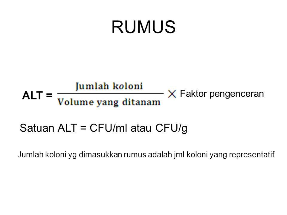 RUMUS ALT = Satuan ALT = CFU/ml atau CFU/g Faktor pengenceran