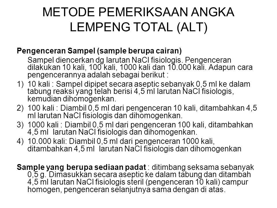 METODE PEMERIKSAAN ANGKA LEMPENG TOTAL (ALT)