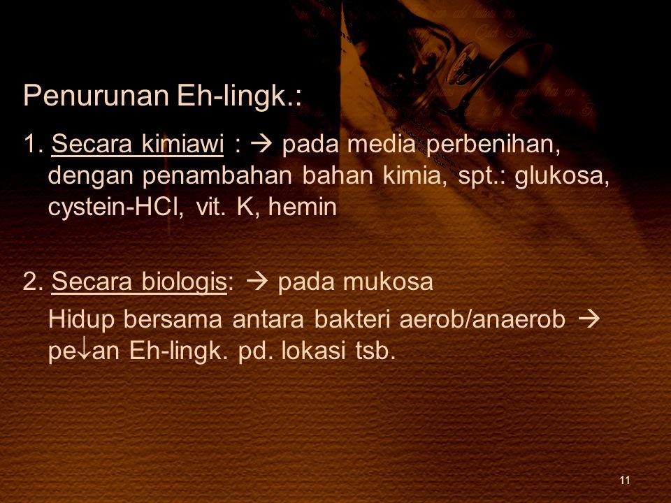 Penurunan Eh-lingk.: 1. Secara kimiawi :  pada media perbenihan, dengan penambahan bahan kimia, spt.: glukosa, cystein-HCl, vit. K, hemin.