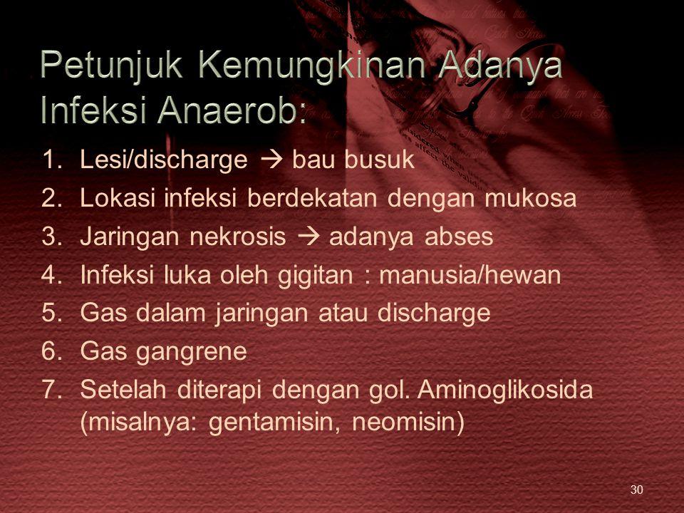 Petunjuk Kemungkinan Adanya Infeksi Anaerob: