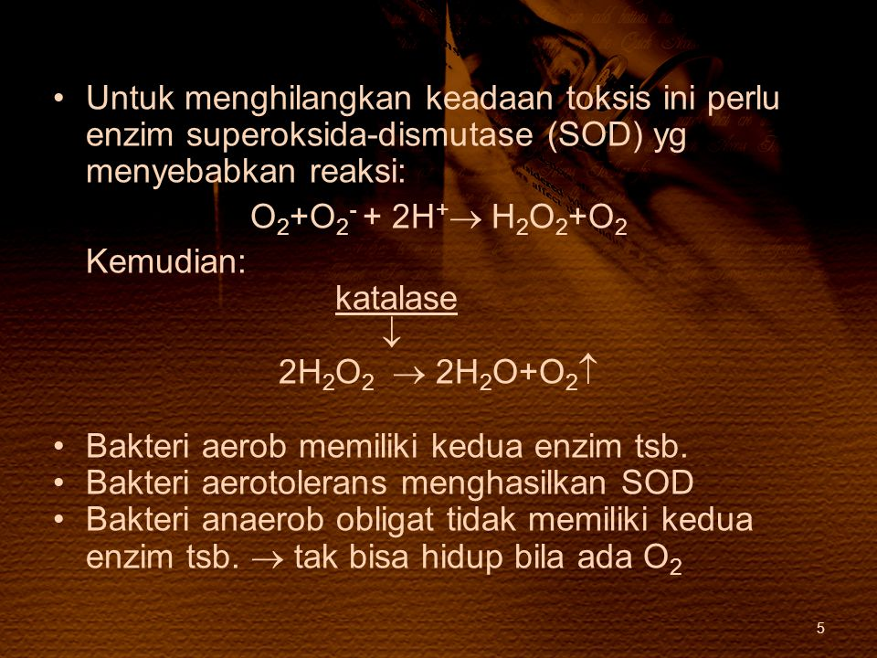Untuk menghilangkan keadaan toksis ini perlu enzim superoksida-dismutase (SOD) yg menyebabkan reaksi: