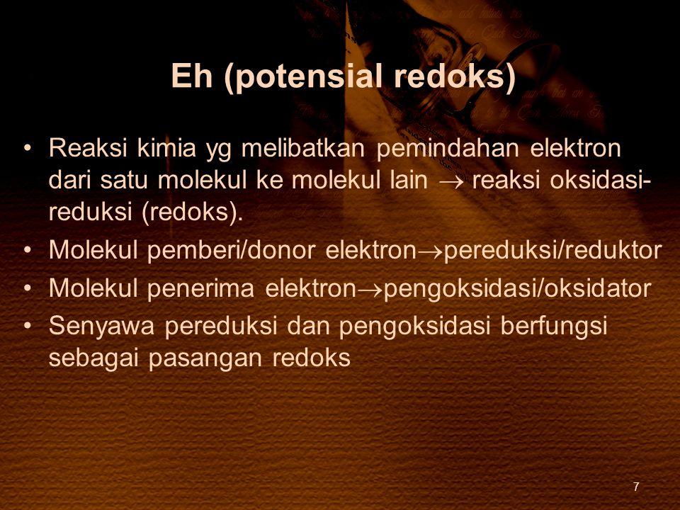 Eh (potensial redoks) Reaksi kimia yg melibatkan pemindahan elektron dari satu molekul ke molekul lain  reaksi oksidasi-reduksi (redoks).