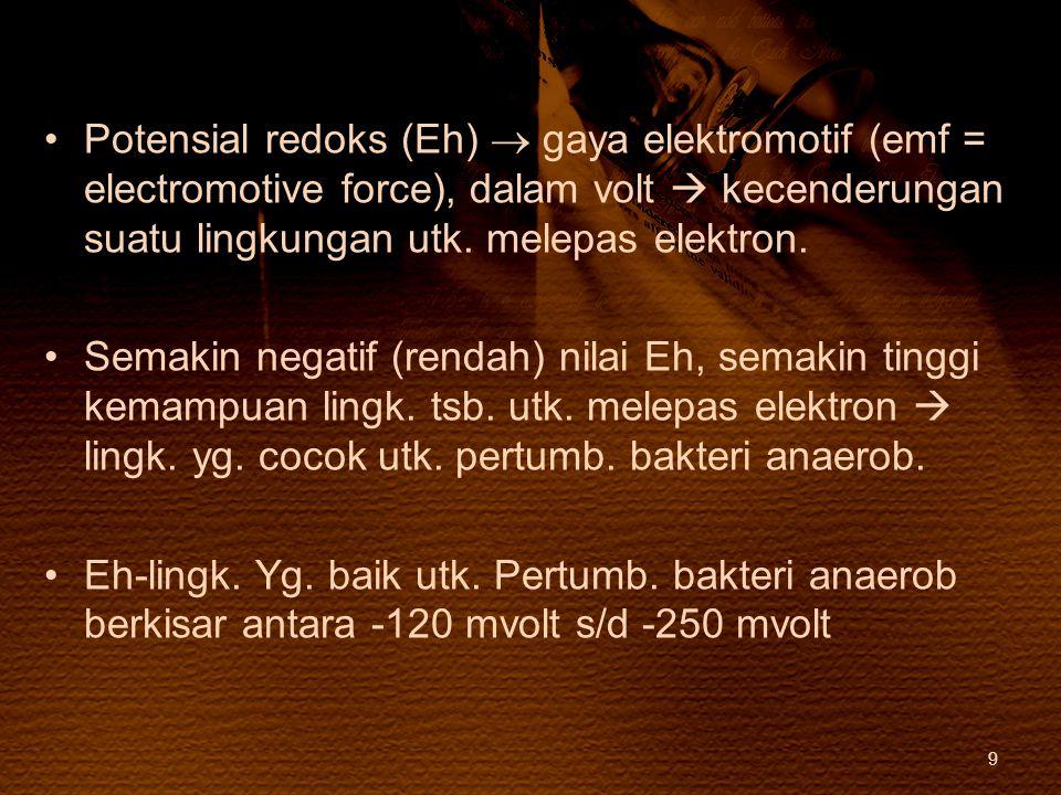 Potensial redoks (Eh)  gaya elektromotif (emf = electromotive force), dalam volt  kecenderungan suatu lingkungan utk. melepas elektron.