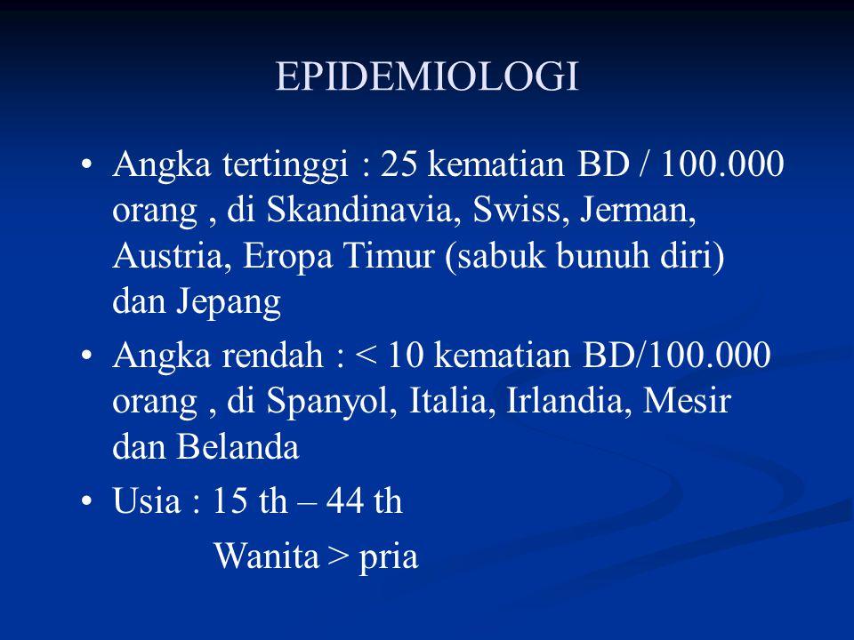EPIDEMIOLOGI Angka tertinggi : 25 kematian BD / 100.000 orang , di Skandinavia, Swiss, Jerman, Austria, Eropa Timur (sabuk bunuh diri) dan Jepang.