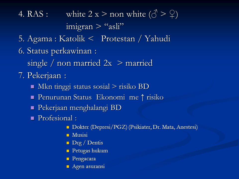 4. RAS : white 2 x > non white (♂ > ♀) imigran > asli