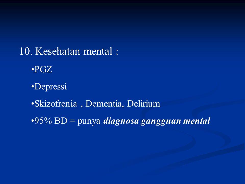 10. Kesehatan mental : PGZ Depressi Skizofrenia , Dementia, Delirium