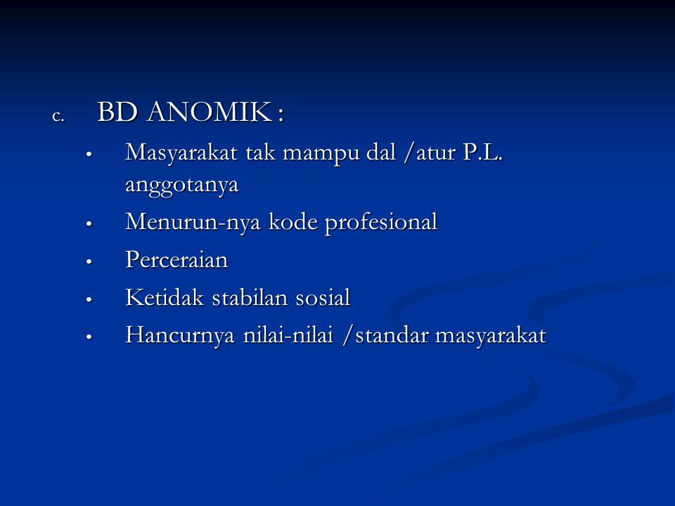 BD ANOMIK : Masyarakat tak mampu dal /atur P.L. anggotanya