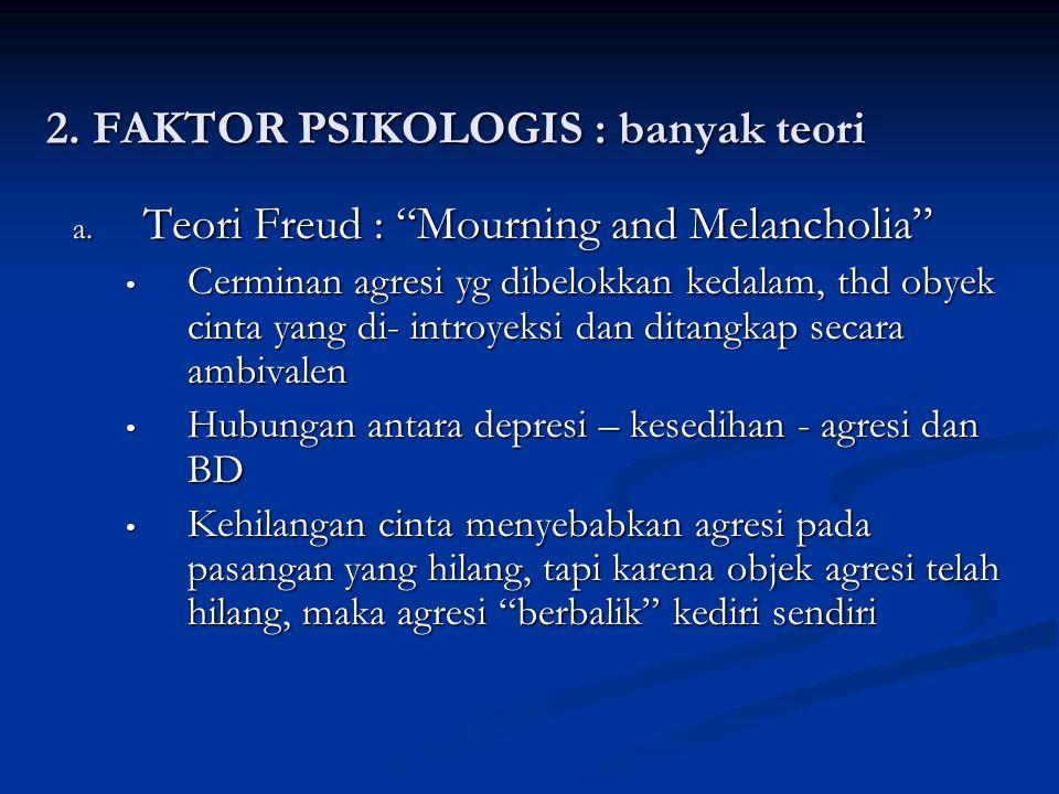2. FAKTOR PSIKOLOGIS : banyak teori