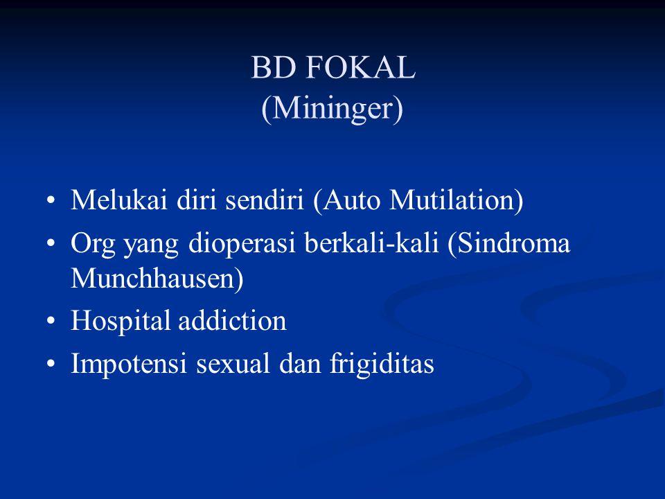 BD FOKAL (Mininger) Melukai diri sendiri (Auto Mutilation)