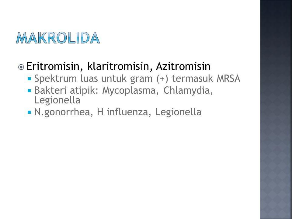 MaKROLIDA Eritromisin, klaritromisin, Azitromisin