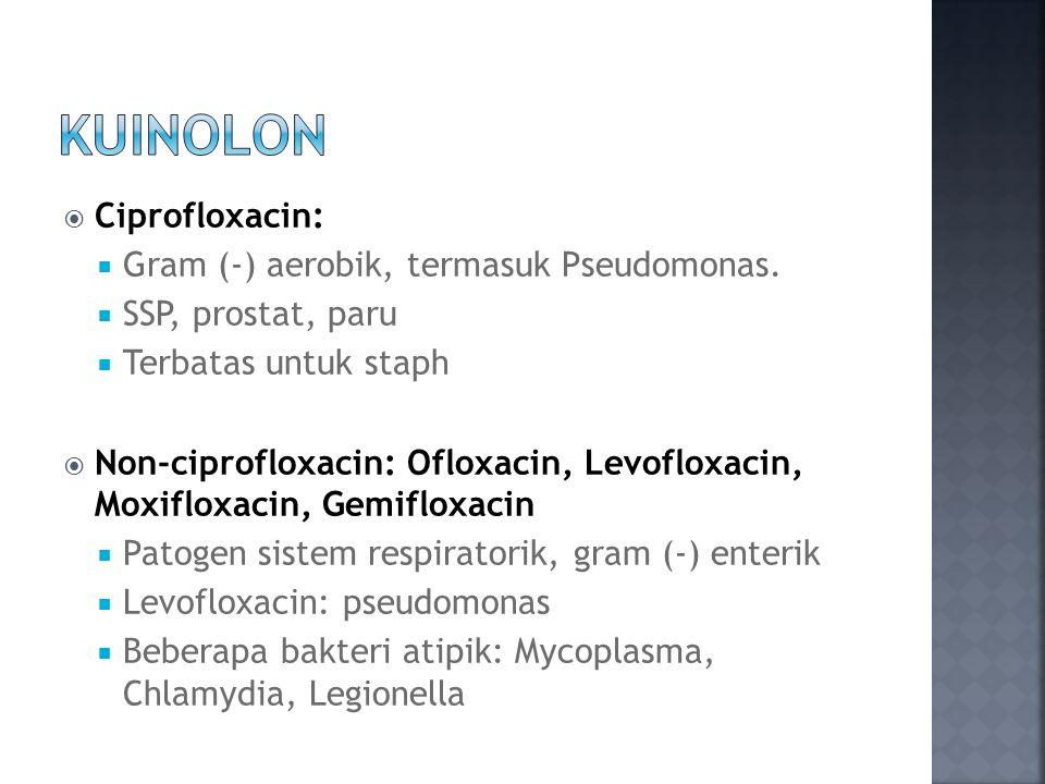 KUINOLON Ciprofloxacin: Gram (-) aerobik, termasuk Pseudomonas.