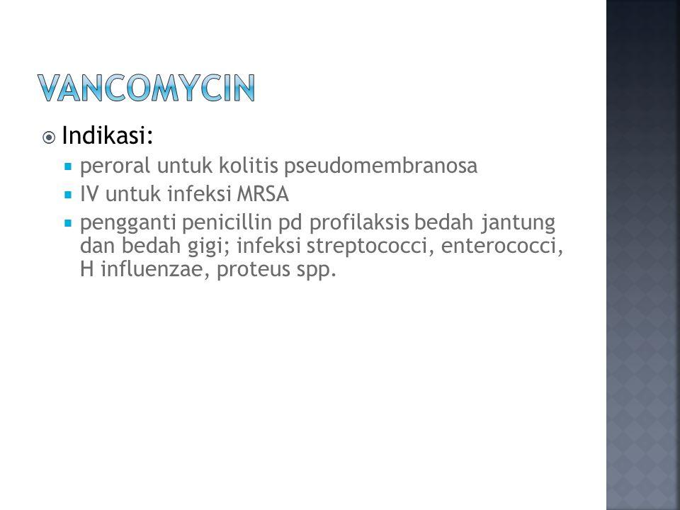 Vancomycin Indikasi: peroral untuk kolitis pseudomembranosa