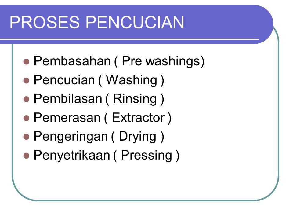 PROSES PENCUCIAN Pembasahan ( Pre washings) Pencucian ( Washing )