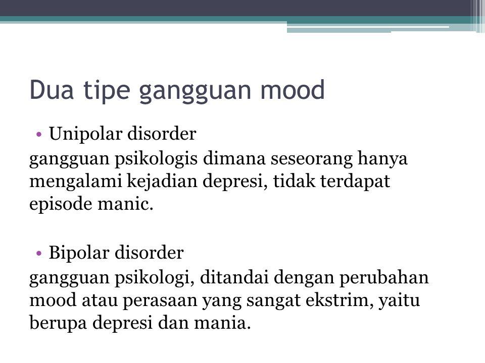 Dua tipe gangguan mood Unipolar disorder