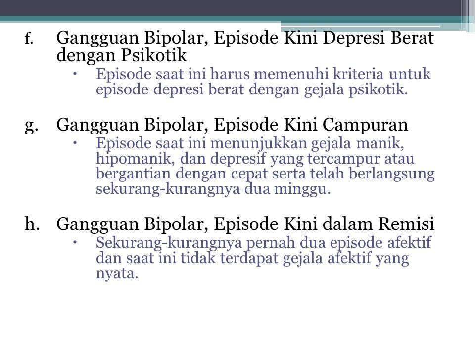 g. Gangguan Bipolar, Episode Kini Campuran