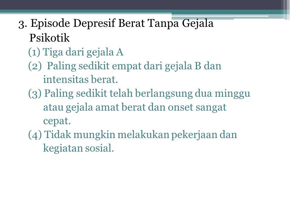 3. Episode Depresif Berat Tanpa Gejala Psikotik