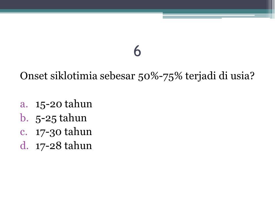 6 Onset siklotimia sebesar 50%-75% terjadi di usia 15-20 tahun