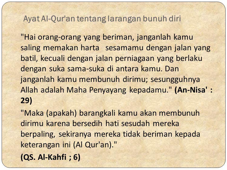 Ayat Al-Qur an tentang larangan bunuh diri