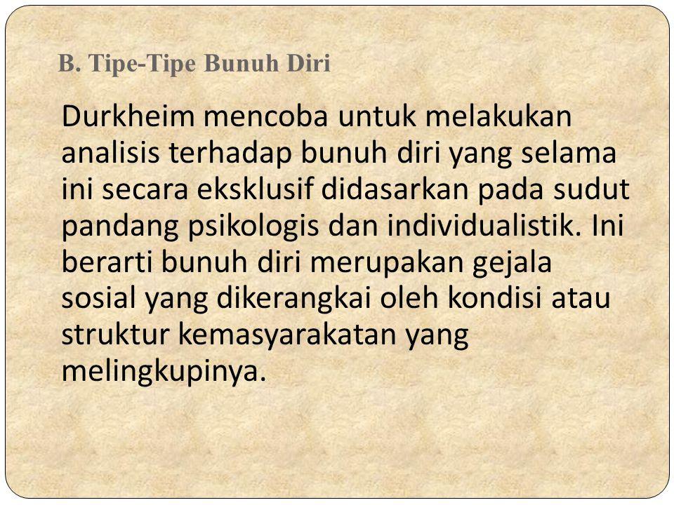 B. Tipe-Tipe Bunuh Diri