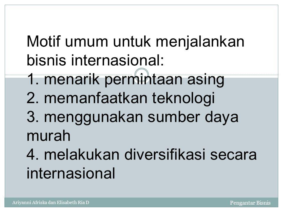 Motif umum untuk menjalankan bisnis internasional: 1