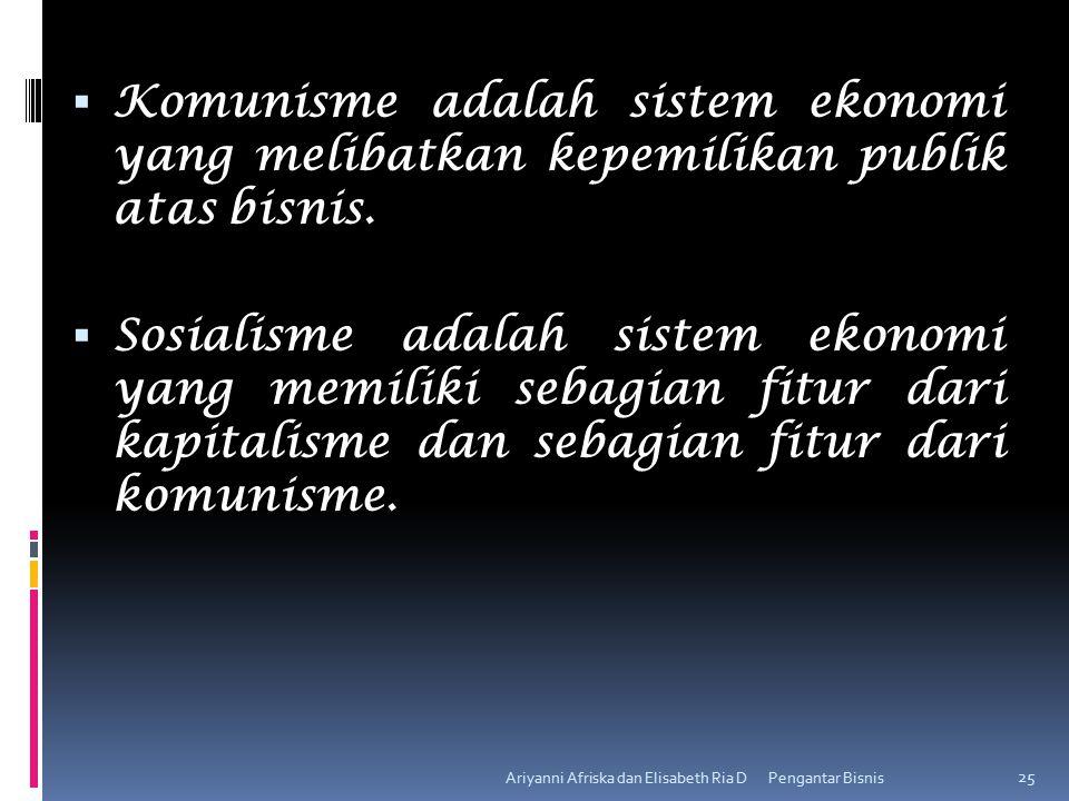 Komunisme adalah sistem ekonomi yang melibatkan kepemilikan publik atas bisnis.