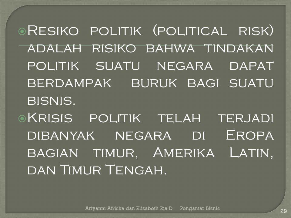Resiko politik (political risk) adalah risiko bahwa tindakan politik suatu negara dapat berdampak buruk bagi suatu bisnis.