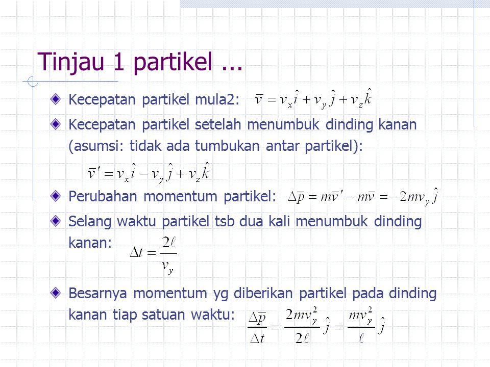 Tinjau 1 partikel ... Kecepatan partikel mula2: