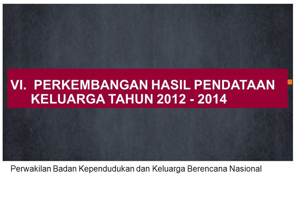 VI. PERKEMBANGAN HASIL PENDATAAN KELUARGA TAHUN 2012 - 2014