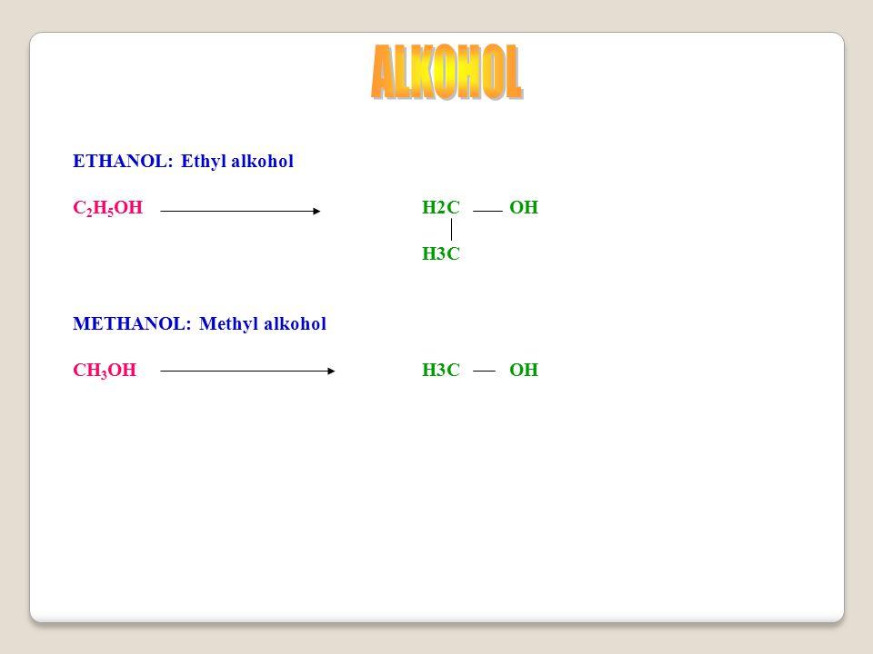 ALKOHOL ETHANOL: Ethyl alkohol C2H5OH H2C OH H3C