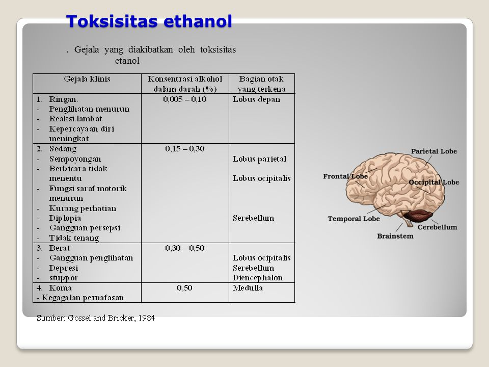 Toksisitas ethanol . Gejala yang diakibatkan oleh toksisitas etanol