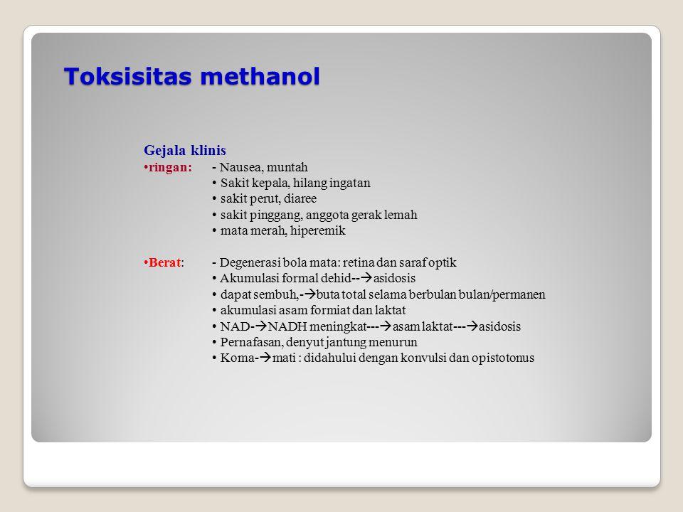 Toksisitas methanol Gejala klinis ringan: - Nausea, muntah