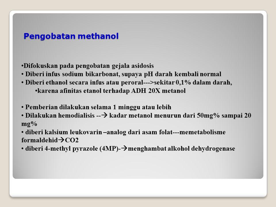 Pengobatan methanol Difokuskan pada pengobatan gejala asidosis