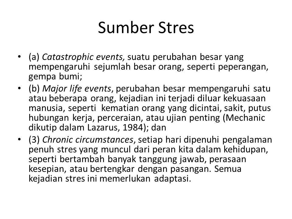 Sumber Stres (a) Catastrophic events, suatu perubahan besar yang mempengaruhi sejumlah besar orang, seperti peperangan, gempa bumi;