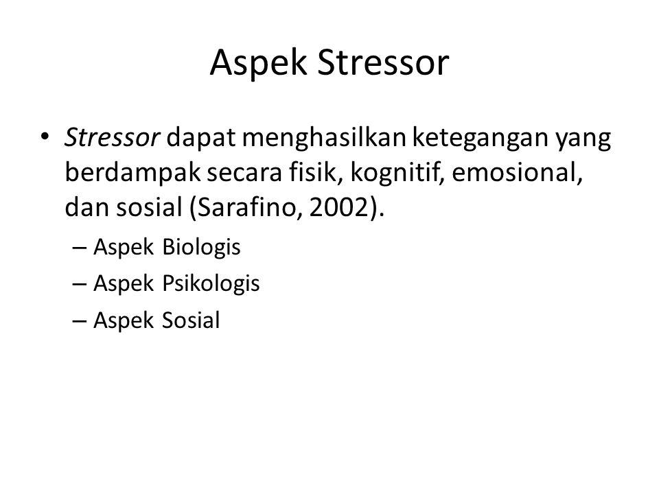 Aspek Stressor Stressor dapat menghasilkan ketegangan yang berdampak secara fisik, kognitif, emosional, dan sosial (Sarafino, 2002).