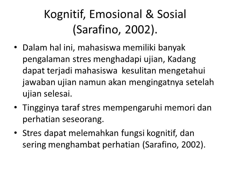 Kognitif, Emosional & Sosial (Sarafino, 2002).