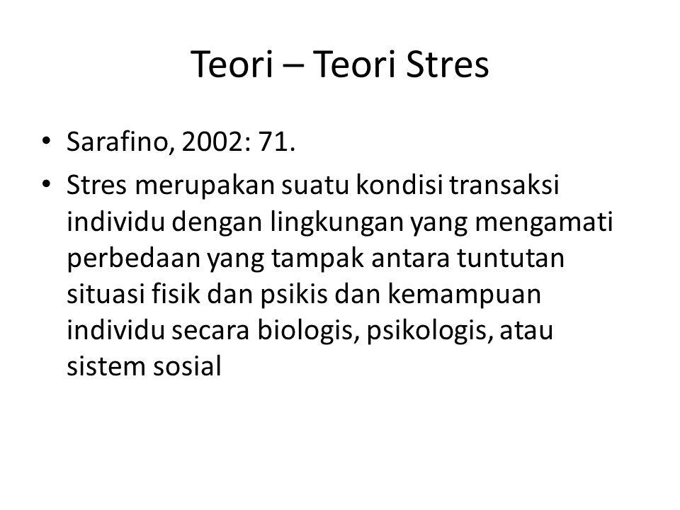 Teori – Teori Stres Sarafino, 2002: 71.