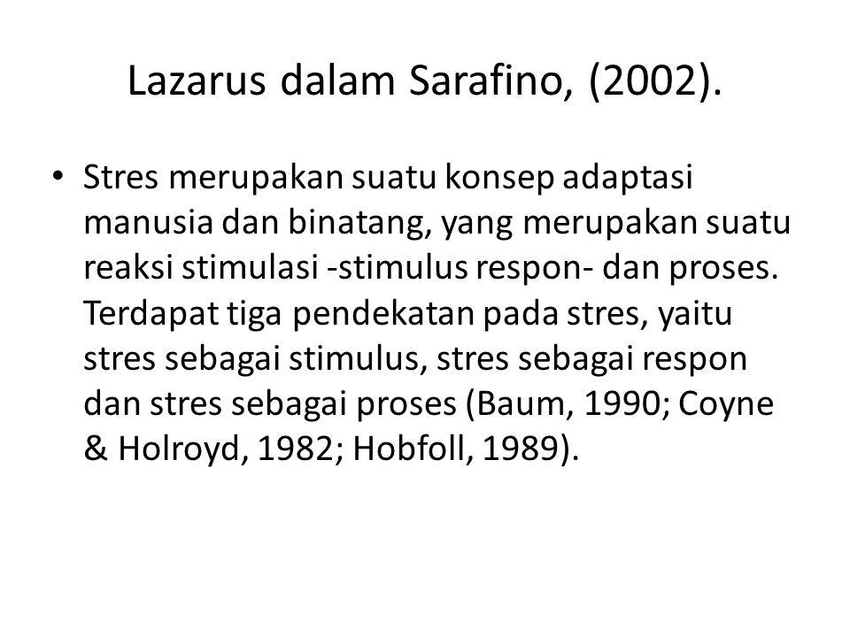 Lazarus dalam Sarafino, (2002).