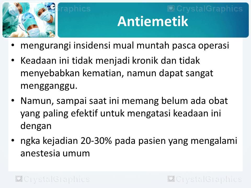 Antiemetik mengurangi insidensi mual muntah pasca operasi