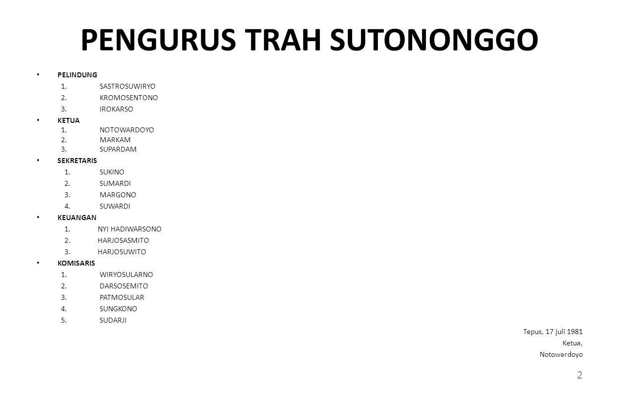 PENGURUS TRAH SUTONONGGO