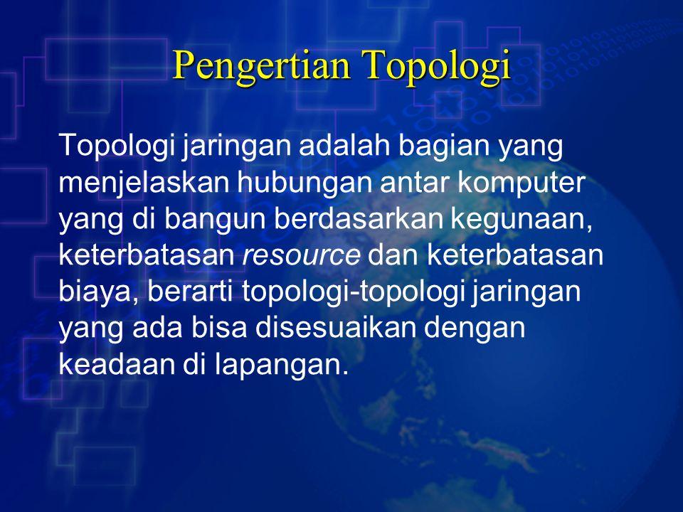 Pengertian Topologi Topologi jaringan adalah bagian yang
