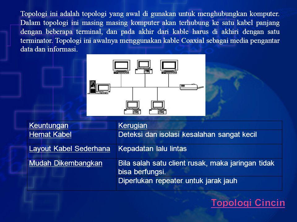 Topologi ini adalah topologi yang awal di gunakan untuk menghubungkan komputer. Dalam topologi ini masing masing komputer akan terhubung ke satu kabel panjang dengan beberapa terminal, dan pada akhir dari kable harus di akhiri dengan satu terminator. Topologi ini awalnya menggunakan kable Coaxial sebagai media pengantar data dan informasi.