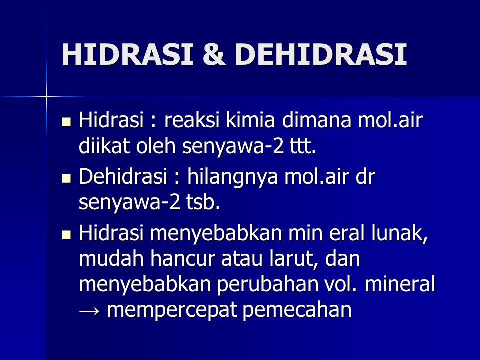 HIDRASI & DEHIDRASI Hidrasi : reaksi kimia dimana mol.air diikat oleh senyawa-2 ttt. Dehidrasi : hilangnya mol.air dr senyawa-2 tsb.