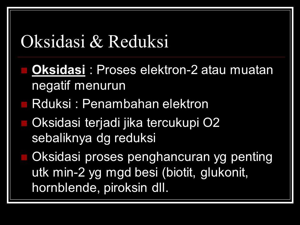 Oksidasi & Reduksi Oksidasi : Proses elektron-2 atau muatan negatif menurun. Rduksi : Penambahan elektron.
