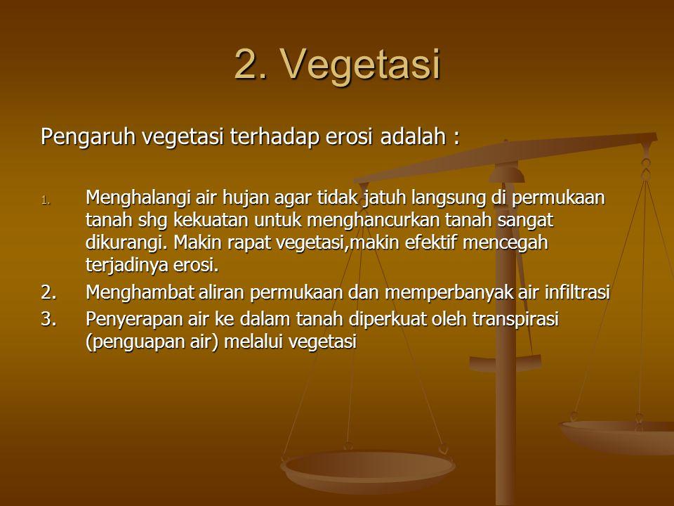 2. Vegetasi Pengaruh vegetasi terhadap erosi adalah :