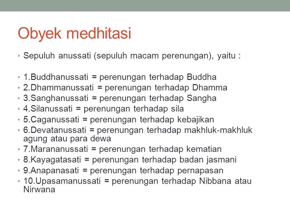 Obyek medhitasi Sepuluh anussati (sepuluh macam perenungan), yaitu :