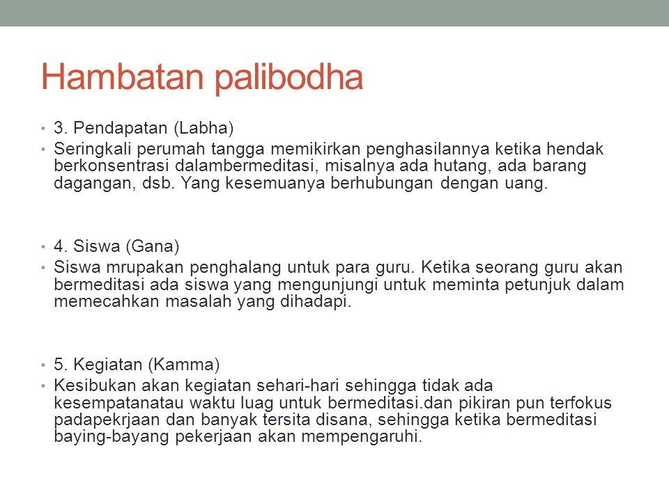 Hambatan palibodha 3. Pendapatan (Labha)