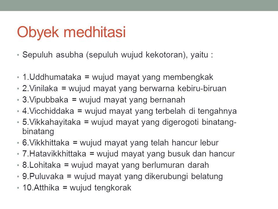 Obyek medhitasi Sepuluh asubha (sepuluh wujud kekotoran), yaitu :